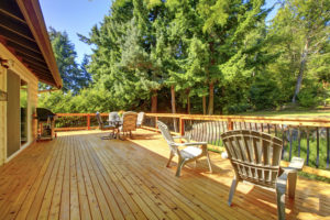 Wooden Deck in Backyard